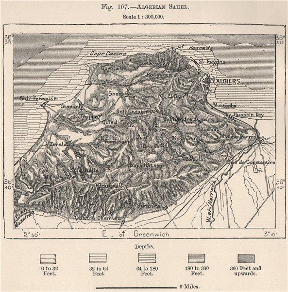Associate Product Algerian Sahel. Algiers 1885 old antique vintage map plan chart