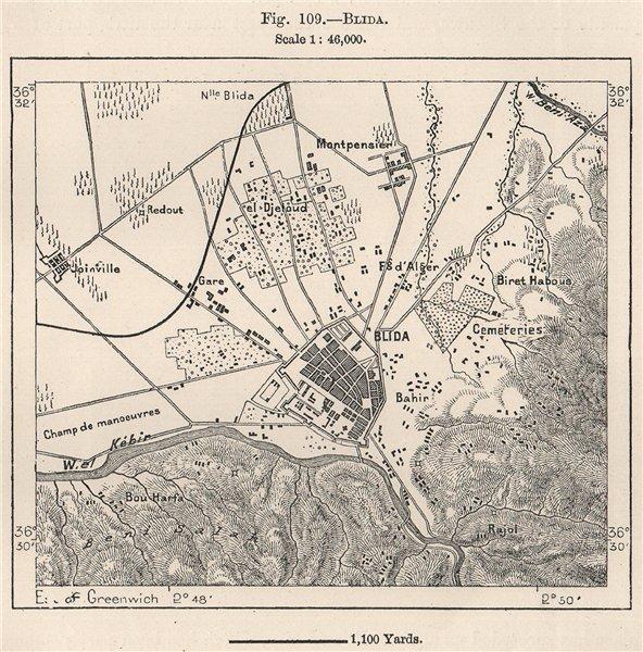 Associate Product Blida. Algeria 1885 old antique vintage map plan chart