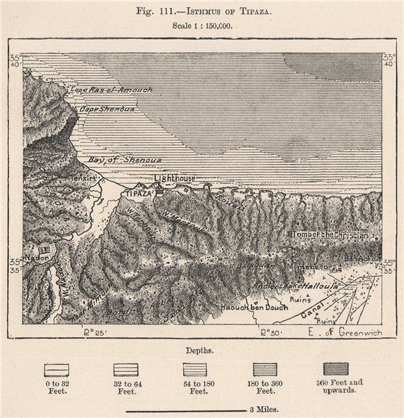 Associate Product Isthmus of Tipaza/Tipasa. Algeria 1885 old antique vintage map plan chart