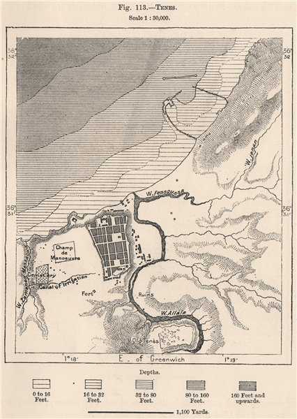 Associate Product Tenes/Ténès. Algeria 1885 old antique vintage map plan chart