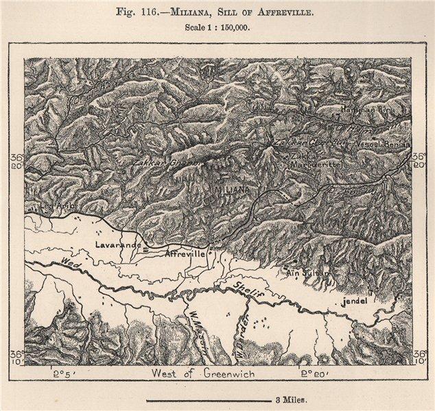 Associate Product Miliana, Sill of Affreville. Aïn Defla. Algeria 1885 old antique map chart