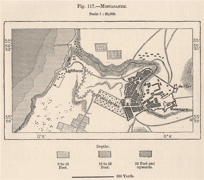 Associate Product Mostaganem. Algeria 1885 old antique vintage map plan chart