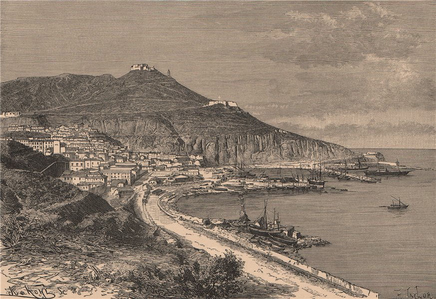 Associate Product Oran - View from the Marina. Algeria 1885 old antique vintage print picture