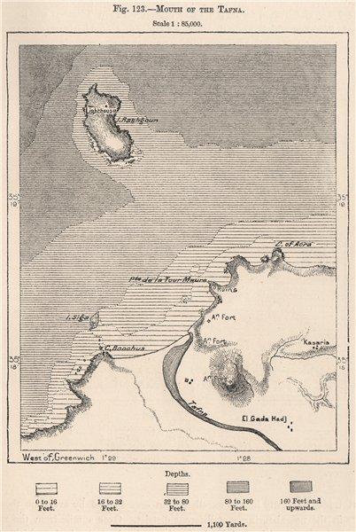 Mouth of the Tafna river.Oued Tafna.Ile de Rechgoun/Rachgoun.Algeria 1885 map