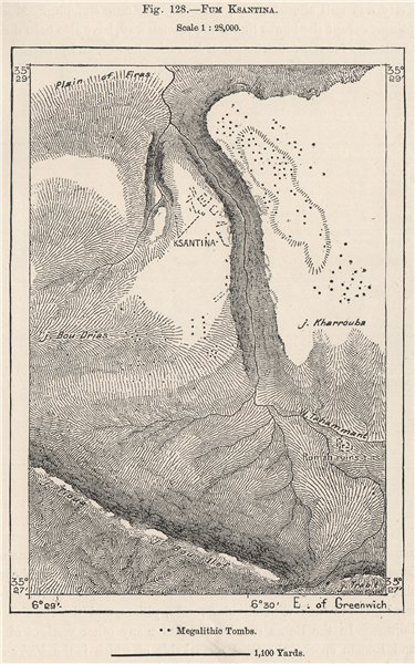 Associate Product Fum Ksantina (Timgad Roman Ruins) . Algeria 1885 old antique map plan chart