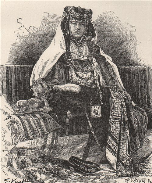 Associate Product A Nail Arab woman. Algeria 1885 old antique vintage print picture