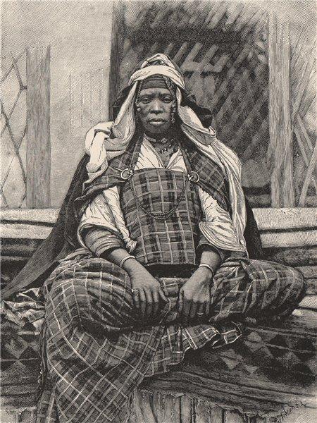 Associate Product Emancipated Negress, Biskra. Algeria 1885 old antique vintage print picture