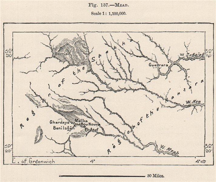 Associate Product M'zab. Algeria 1885 old antique vintage map plan chart
