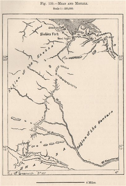 Associate Product M'zab and Metlili. Ghardaïa, Algeria 1885 old antique vintage map plan chart