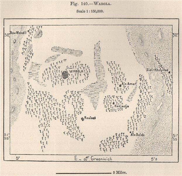 Associate Product Ouargla. Warqla/Wargla. Algeria 1885 old antique vintage map plan chart