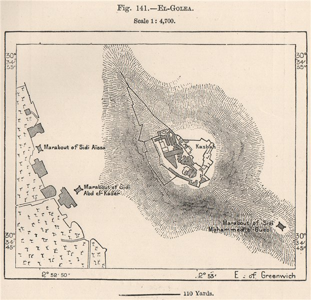 Associate Product El Golea. El Goléa. Algeria 1885 old antique vintage map plan chart