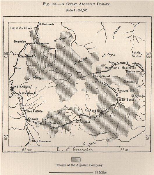 'A Great Algerian Domain'. Domain of the Algerian Company 1885 old antique map