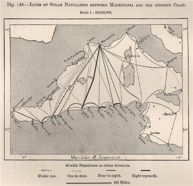 Associate Product Steam navigation lines from North Africa to Europe. Mediterranean 1885 old map