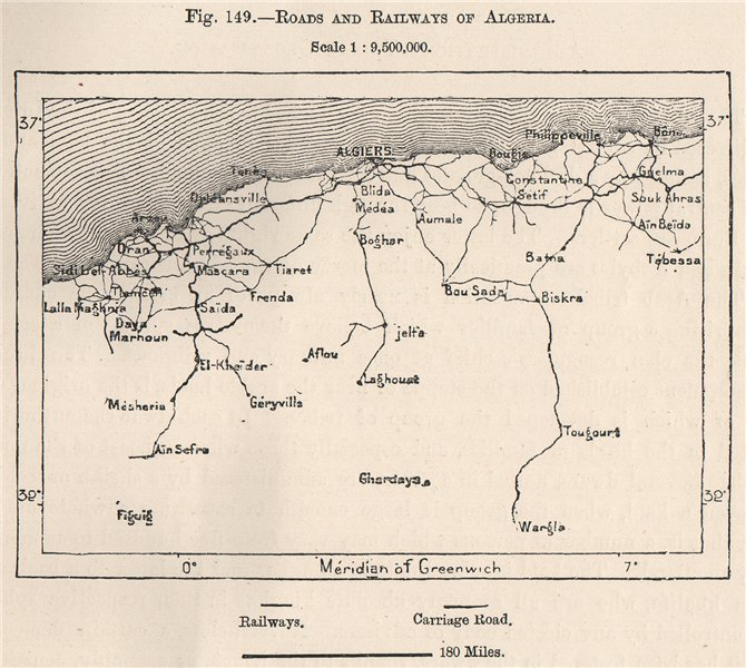 Associate Product Roads and Railways of Algeria 1885 old antique vintage map plan chart