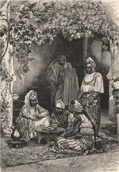 An Arab family of Tlemcen. Algeria 1885 old antique vintage print picture