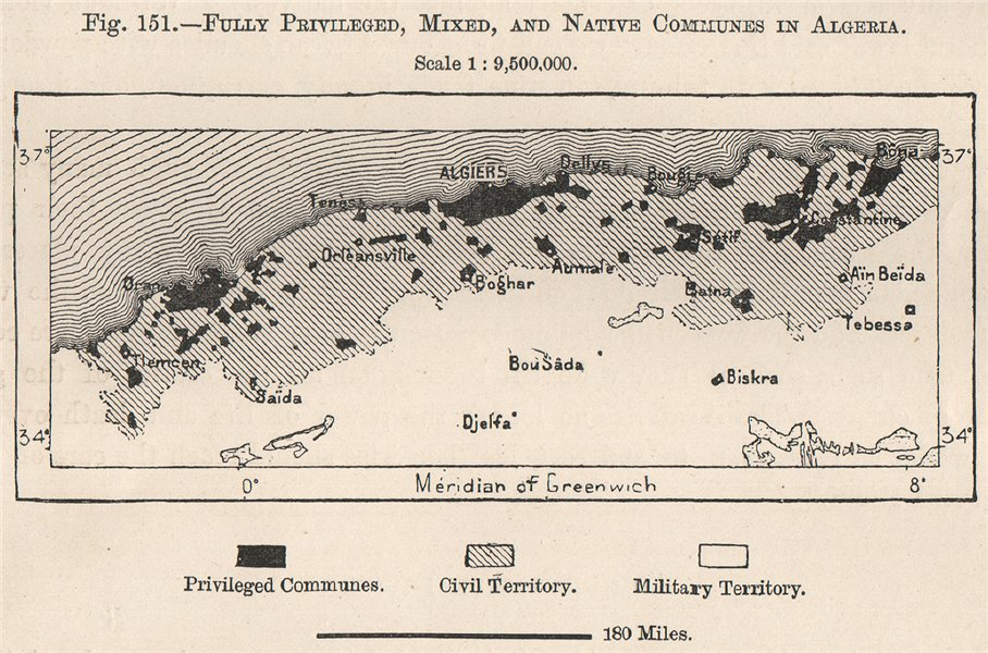 Associate Product Fully privileged, mixed/civil & native communes in Algeria 1885 old map