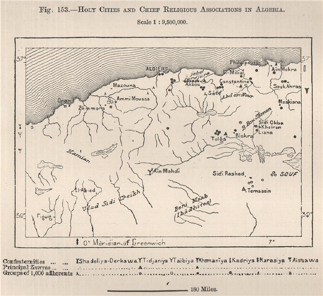 Associate Product Holy cities and chief religious associations in Algeria 1885 old antique map