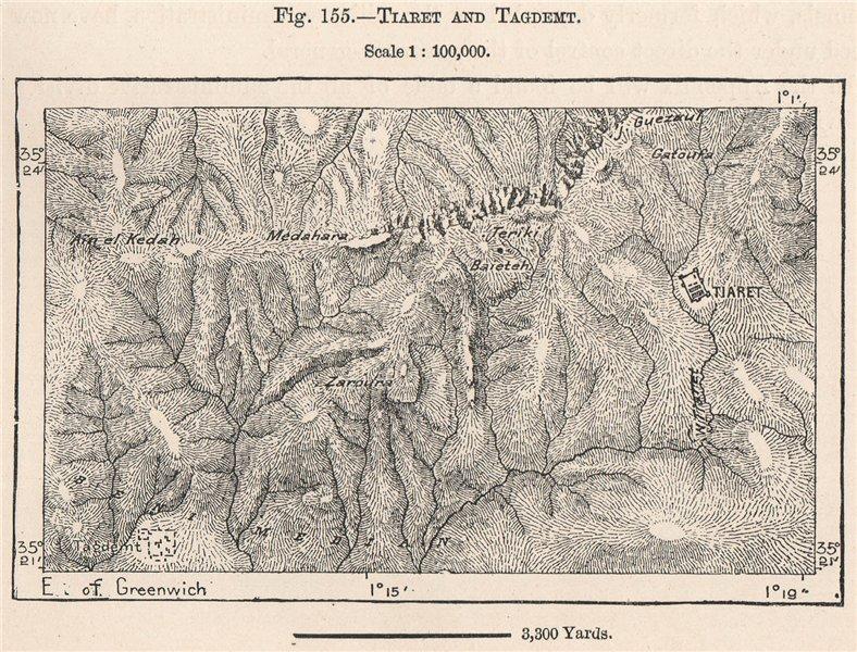 Associate Product Tiaret and Tagdemt. Algeria 1885 old antique vintage map plan chart