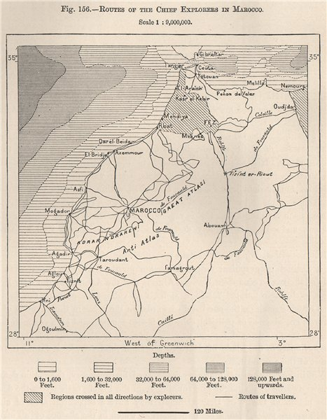 Associate Product Routes of the chief explorers in Marocco. Morocco 1885 old antique map chart