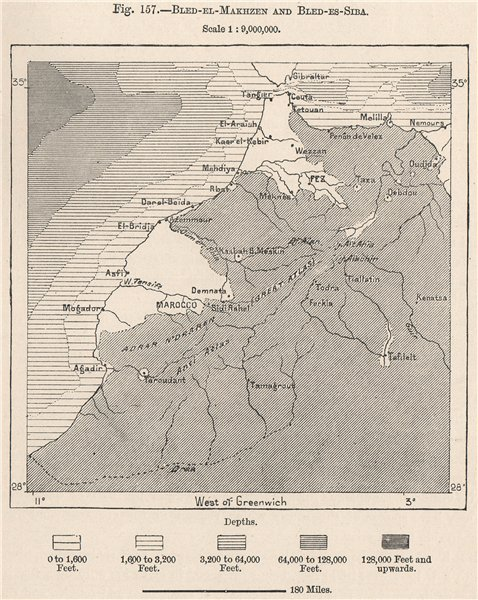 Associate Product Bled-el-Makhzen (white) & Bled Siba (shaded) . Morocco 1885 old antique map