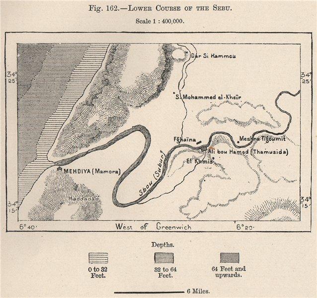 Lower Sebou river/Oued Sebou. Mehdya/Mehdia. Kenitra. Morocco 1885 old map