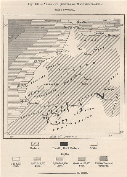 Associate Product Arab & Berber peoples of Maghreb Al Aqsa (Morocco)  1885 old antique map chart