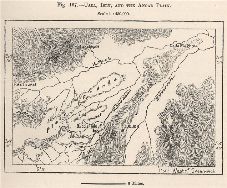 Associate Product Oudja, Battlefield of Isly, and the Angad Plain. Morocco 1885 old antique map