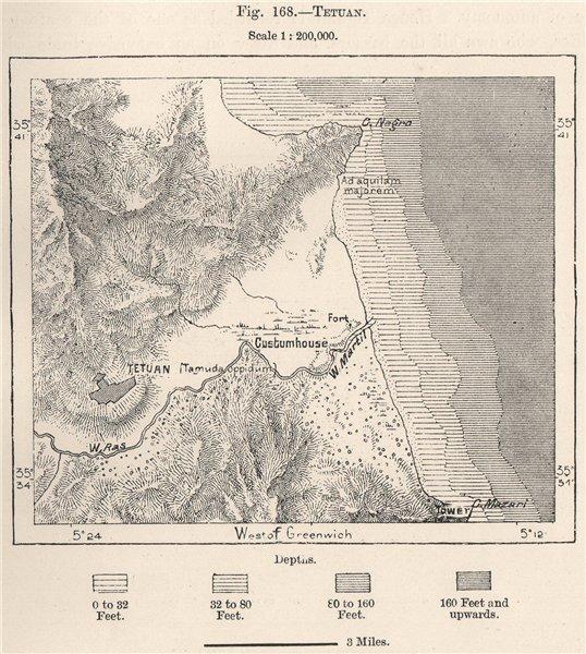 Associate Product Tetouan. Morocco 1885 old antique vintage map plan chart
