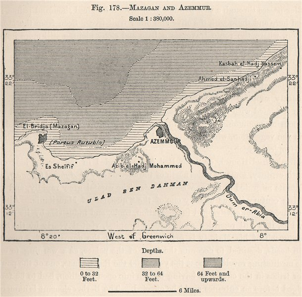 Associate Product El Jadida (El Jadida) and Azemmour. Morocco 1885 old antique map plan chart