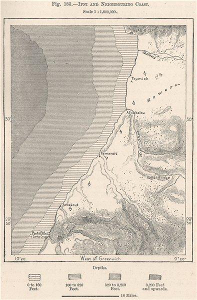 Associate Product Sidi Ifni, Agadir & neighbouring coast. Morocco 1885 old antique map chart