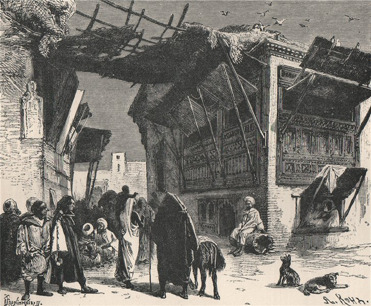 Associate Product A School in Fes. Morocco 1885 old antique vintage print picture