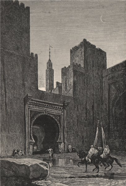 Associate Product Fes - Gateway of the Kasbah. Morocco 1885 old antique vintage print picture