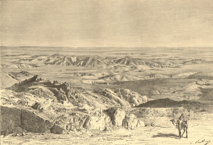 Associate Product The Sahara - View from the Sfa Pass, North-West of Biskra. Algeria 1885 print