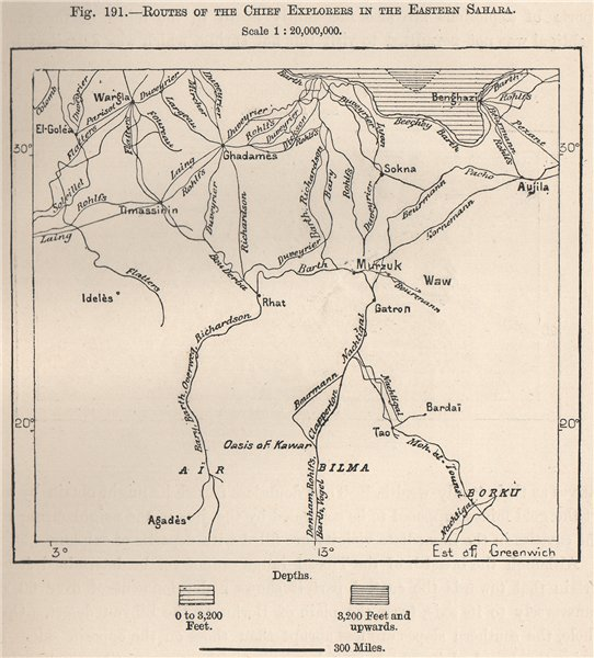 Associate Product Routes of the chief explorers in the Eastern Sahara.Libya.The Sahara 1885 map