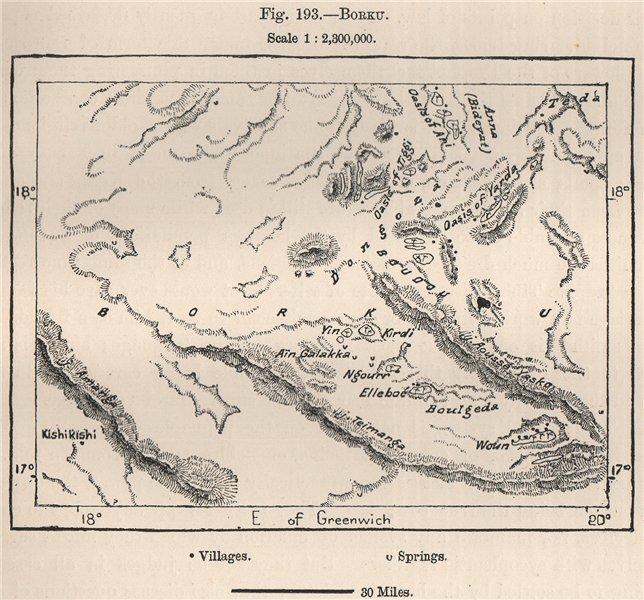 Associate Product Borkou/Borgu. Chad. The Sahara 1885 old antique vintage map plan chart