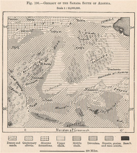 Associate Product Geology of the Sahara South of Algeria 1885 old antique vintage map plan chart