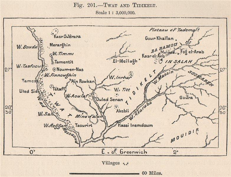 Associate Product Twat/Tuat/Touat and Tidikelt. Algeria. The Sahara 1885 old antique map chart