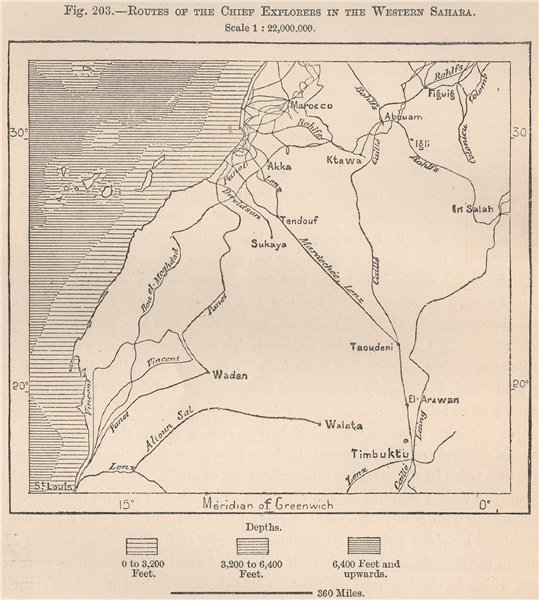 Associate Product Routes of the chief explorers in the Western Sahara. Africa 1885 old map