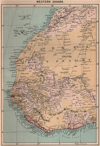 Associate Product Western Sahara. Africa 1885 old antique vintage map plan chart
