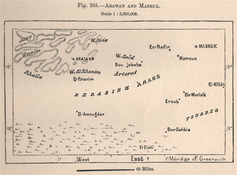 Associate Product Arawan/Arouane and Mabrouk. Mali. Western Sahara 1885 old antique map chart