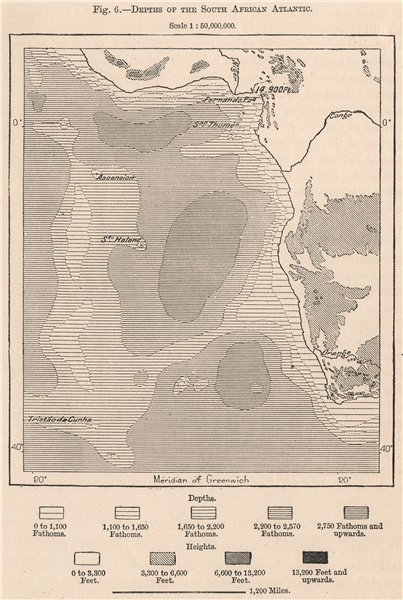 Associate Product Depths of the South African Atlantic 1885 old antique vintage map plan chart