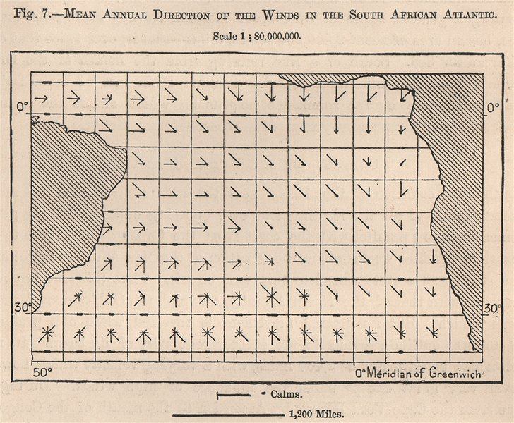 Associate Product Mean annual winds direction in the South African Atlantic Ocean 1885 old map