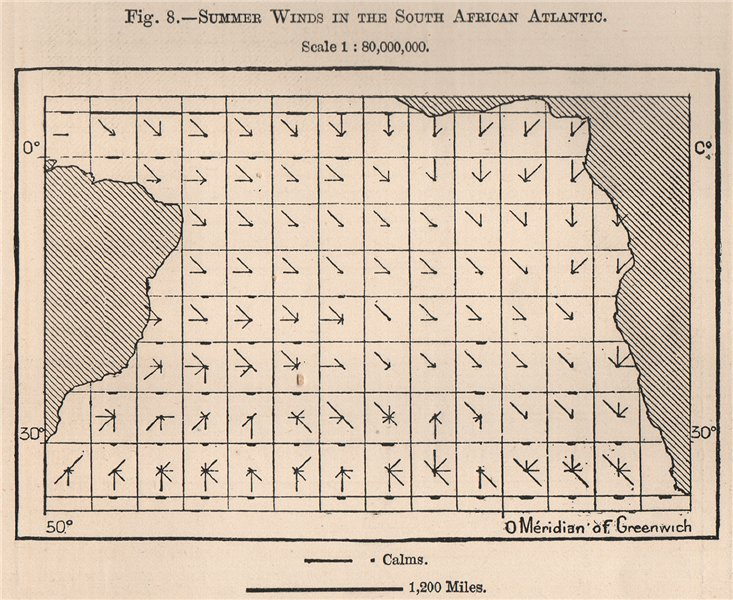 Associate Product Summer Winds in the South African Atlantic. Atlantic Ocean 1885 old map