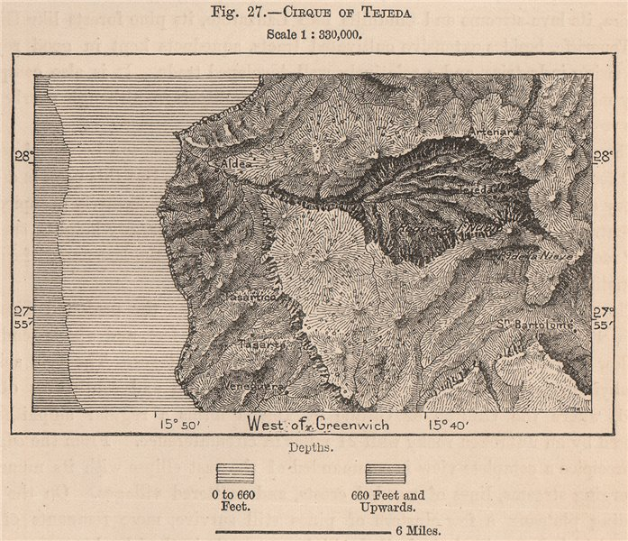 Associate Product Cirque of Tejeda, Gran Canaria. Spain. Canary Islands 1885 old antique map