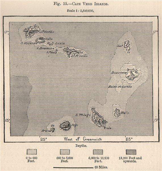 Cape Verde Islands. Atlantic Islands. West African Islands 1885 old map