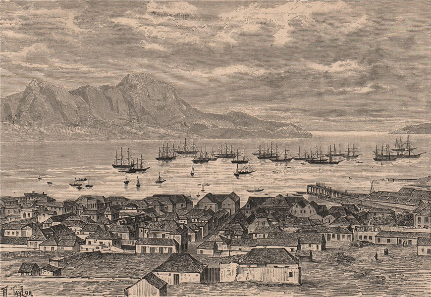 Associate Product General view of Porto Grande (Mindelo) Sao Vicente. Cape Verde Islands 1885