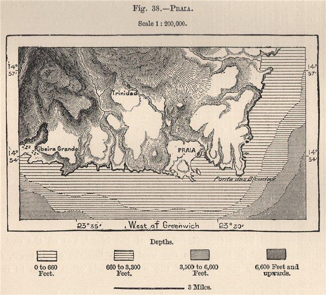Associate Product Praia, Santiago, Cape Verde Islands 1885 old antique vintage map plan chart