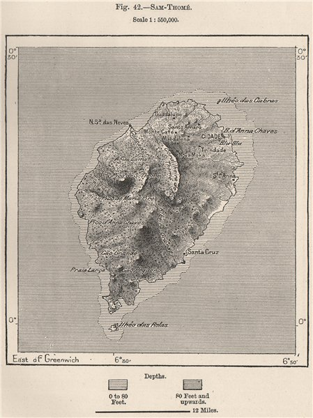 Associate Product Sao Tomé. Atlantic Islands. South-West African Islands 1885 old antique map