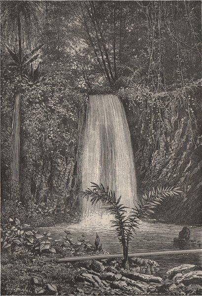 Associate Product Blublu cascade, Agoa Grande, Sao Tomé. Atlantic Islands 1885 old antique print