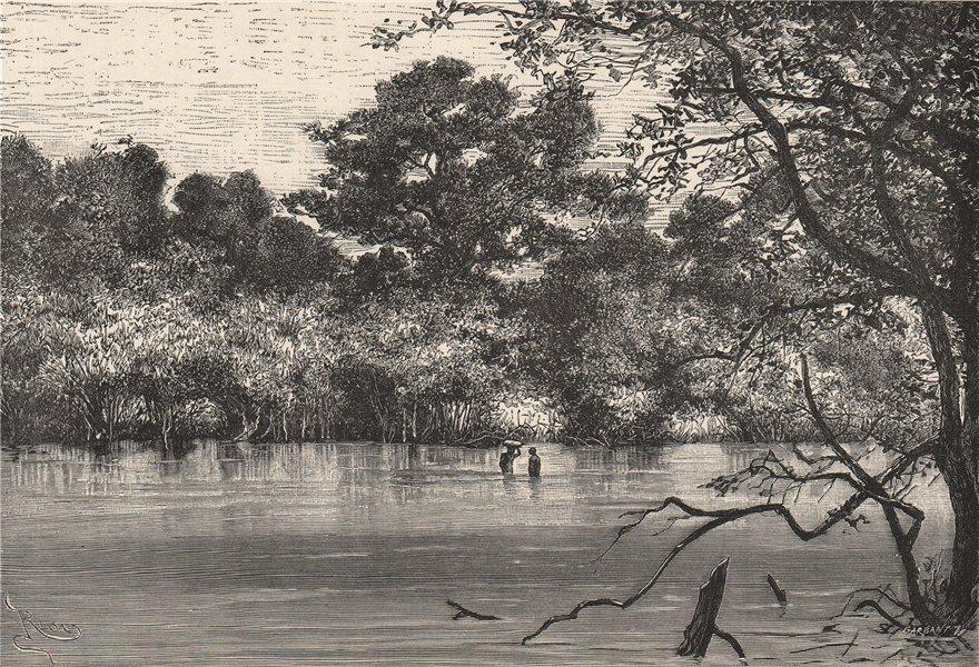 Associate Product View on the Bakhoy. Ford of Mokaia Fara. Senegal. North Senegambia 1885 print